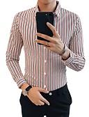 billige Skjorter-Skjorte Herre - Stripet Grunnleggende Hvit