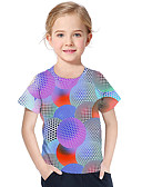 baratos Blusas para Meninas-Infantil Bébé Para Meninas Activo Básico Geométrica Estampado 3D Estampado Manga Curta Camiseta Azul