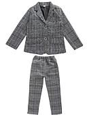 povoljno Kompletići za dječake-Djeca Dječaci Osnovni Jednobojni Dugih rukava Pamuk Odijelo i sako Sive boje