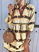 baratos Mini Vestidos-Mulheres Camisa Vestido Listrado Mini