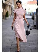 baratos Vestidos Longos-Mulheres Básico Solto Bainha Vestido Sólido Gola Redonda Assimétrico Rosa empoeirada