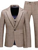 Χαμηλού Κόστους Αντρικά Μπλέιζερ & Κοστούμια-Ανδρικά Στολές, Μονόχρωμο Κλασικό Πέτο Πολυεστέρας Ανοικτό Καφέ / Λεπτό