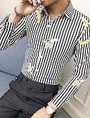 billige Skjorter-Skjorte Herre - Stripet / Frukt Grunnleggende Svart