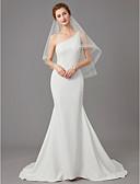 Χαμηλού Κόστους Βραδινά Φορέματα-Τρομπέτα / Γοργόνα Ένας Ώμος Ουρά μέτριου μήκους Ζέρσεϊ Λεπτές Τιράντες Φορέματα γάμου φτιαγμένα στο μέτρο με Χάντρες / Λεπτομέρεια με πέρλα 2020