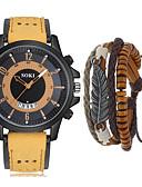 ราคาถูก นาฬิกาข้อมือสายหนัง-สำหรับผู้ชาย นาฬิกาแนวสปอร์ต นาฬิกาอิเล็กทรอนิกส์ (Quartz) หนัง ดำ / น้ำตาล / เขียว ไม่ ปฏิทิน โครโนกราฟ น่ารัก ระบบอนาล็อก มาใหม่ แฟชั่น - กาแฟ สีน้ำตาล สีเขียว หนึ่งปี อายุการใช้งานแบตเตอรี่