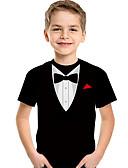 ราคาถูก เสื้อเด็กผู้ชาย-เด็ก Toddler เด็กผู้ชาย ซึ่งทำงานอยู่ พื้นฐาน รูปเรขาคณิต ลายพิมพ์ 3D ลายพิมพ์ แขนสั้น เสื้อยืด สีดำ