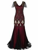 Χαμηλού Κόστους Βραδινά Φορέματα-Τρομπέτα / Γοργόνα Λαιμόκοψη V Ουρά Πολυεστέρας / Με πούλιες Κομψό / Εμπνευσμένο από Βίντατζ Επίσημο Βραδινό Φόρεμα 2020 με Χάντρες / Πούλιες / Ψευδαίσθηση