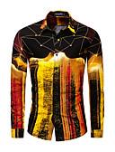 baratos Camisas Masculinas-Homens Tamanho Europeu / Americano Camisa Social Básico Galáxia Dourado / Manga Longa