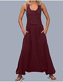 ราคาถูก จั๊มสูทและเสื้อคลุมสำหรับผู้หญิง-สำหรับผู้หญิง พื้นฐาน สีดำ ไวน์ ขาว ขากว้าง เพรียวบาง ชุด Jumpsuits Onesie, สีพื้น S M L
