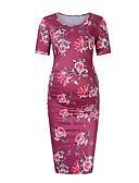 Χαμηλού Κόστους Φορέματα-Γυναικεία Κομψό Θήκη Φόρεμα - Φλοράλ Ως το Γόνατο