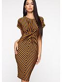 povoljno Print Dresses-Žene Bodycon Haljina Prugasti uzorak Midi