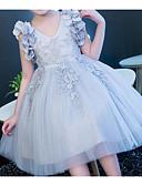 billige Blomsterpikekjoler-Prinsesse Knelang Blomsterpikekjole - Polyester / Tyll Ermeløs V-hals med Appliqué / Blonder