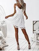 povoljno Nježna čipka-Žene Ulični šik Elegantno Skater kroj Haljina - Čipka Otvorena leđa Vezanje straga, Jednobojni Iznad koljena