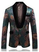 זול ז'קטים-בגדי ריקוד גברים Party / עבודה בסיסי סתיו חורף ארוך ג'קט, גיאומטרי דש שאל שרוול ארוך חוטי זהורית / פוליאסטר / עור כבש תלתן