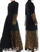 זול שמלות מקסי-לבוש מסורתי ותרבותי Abaya בגדי ריקוד נשים לבוש יומיומי תחרה תחרה שרוול ארוך עבאיה