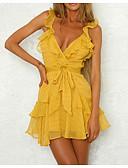זול שמלות מיני-V עמוק מיני אחיד - שמלה גזרת A משוחרר בסיסי בגדי ריקוד נשים