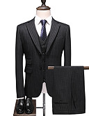 povoljno Odijela-Crn Prugasti uzorak Standardni kroj Poliester Odijelo - Stepenasti Droit 2 boutons
