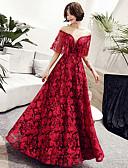 ราคาถูก Special Occasion Dresses-A-line อัญมณี ลากพื้น ลูกไม้ / Tulle สะท้อนแสง ทางการ แต่งตัว กับ คริสตัล โดย LAN TING Express
