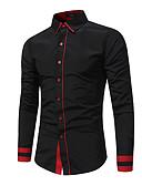 """זול חולצות לגברים-קולור בלוק בסיסי האיחוד האירופי / ארה""""ב גודל חולצה - בגדי ריקוד גברים טלאים שחור / שרוול ארוך"""