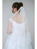ราคาถูก ม่านสำหรับงานแต่งงาน-ชั้นเดียว ชุดกระโปรงแบบGlamorous & Dramatic / หวาน ผ้าคลุมหน้าชุดแต่งงาน Elbow Veils กับ ของประดับด้วยลูกปัด / คริสตัล / พลอยเทียมต่างๆ Tulle