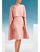 baratos Vestidos para as Mães dos Noivos-Tubinho Decorado com Bijuteria Até os Joelhos Cetim Meia Manga Tamanhos Grandes Vestido Para Mãe dos Noivos com Apliques 2020