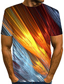 ราคาถูก เสื้อยืดและเสื้อกล้ามผู้ชาย-สำหรับผู้ชาย ขนาดของยุโรป / อเมริกา เสื้อเชิร์ต Street Chic / ที่พูดเกินจริง คลับ ลายพิมพ์ คอกลม ลายบล็อคสี / 3D / กราฟฟิค สายรุ้ง / แขนสั้น