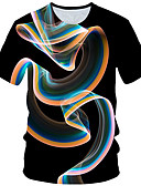billige T-skjorter og singleter til herrer-Rund hals Store størrelser T-skjorte Herre - Geometrisk Svart / Kortermet