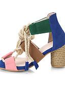 ราคาถูก ชุดว่ายน้ำแบบวันพีช-สำหรับผู้หญิง รองเท้าแตะ ส้นหนา ที่สวมนิ้วเท้า PU ไม่เป็นทางการ วสำหรับเดิน ฤดูร้อนฤดูใบไม้ผลิ / ฤดูใบไม้ร่วง & ฤดูหนาว สีเขียวและสีน้ำเงิน / สีฟ้า+สีชมพู / ขาว