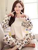 ราคาถูก เสื้อคลุมและชุดนอน-สำหรับผู้หญิง ชุด เสื้อนอน ผ้าขนสัตว์สีธรรมชาติ M L XL