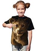 baratos Blusas para Meninas-Infantil Bébé Para Meninas Activo Básico Leão Geométrica Estampado 3D Estampado Manga Curta Camiseta Marron / Animal