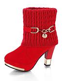 זול חולצה-בגדי ריקוד נשים מגפיים עקב עבה בוהן עגולה אבזם סריגה מגפונים\מגף קרסול וינטאג' הליכה חורף שחור / אדום