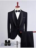 povoljno Odijela-Crn / Crvena / Tamno zelena Jednobojni Standardni kroj Poliester Odijelo - Maramasti ovratnik Droit 1 bouton