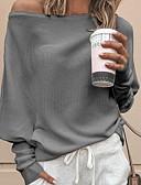 ราคาถูก เสื้อกันหนาวผู้หญิง-สำหรับผู้หญิง สีพื้น แขนยาว หลวม ผ้าคลุมหลัง เสื้อกันหนาวจัมเปอร์, ไหล่ตก สีดำ / ขาว / ทับทิม S / M / L
