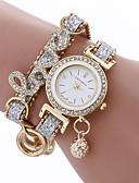 זול שעונים קוורץ-אופנה נשים בנות מתכת צמיד עור ריינסטון צמיד קוורץ שעון יד אלגנטי