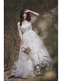 Χαμηλού Κόστους Φορέματα κοκτέιλ-Γραμμή Α Με Κόσμημα Ουρά Δαντέλα / Τούλι Μισό μανίκι Sexy Φορέματα γάμου φτιαγμένα στο μέτρο με Δαντέλα 2020