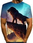 povoljno Stole za vjenčanje-Veličina EU / SAD Majica s rukavima Muškarci - Ulični šik / pretjeran Ulica / Klub Color block / 3D / Životinja Okrugli izrez Print Duga / Kratkih rukava