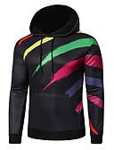 billige Skjorter-Herre Fritid / Grunnleggende Hattetrøje Stripet / Fargeblokk / 3D