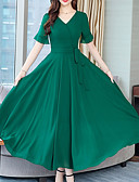baratos Vestidos de Mulher-Mulheres Tamanhos Grandes Básico Evasê Vestido Sólido Decote V Longo