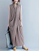 olcso Női ruhák-Női Vintage Kínai Abaya Ruha - Hasított Wrap, Egyszínű Midi