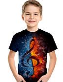 baratos Conjuntos para Meninas-Infantil Bébé Para Meninos Activo Básico Geométrica Estampado Estampa Colorida Estampado Manga Curta Camiseta Preto