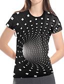 billiga Kvinnors hårtillbehör-Tryck, Geometrisk / 3D / Grafisk Nattklubb Plusstorlekar T-shirt - Grundläggande / drivna Dam Ledig Magiska kuber Svart