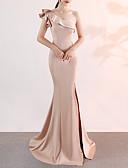 Χαμηλού Κόστους Βραδινά Φορέματα-Τρομπέτα / Γοργόνα Ένας Ώμος Ουρά Σατέν Σέξι / Κομψό & Πολυτελές Επίσημο Βραδινό Φόρεμα 2020 με