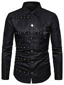 baratos Camisas Masculinas-Homens Tamanho Europeu / Americano Camisa Social Básico Taxas, Listrado Preto e Vermelho Preto / Manga Longa