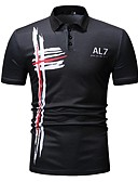 ราคาถูก เสื้อโปโลสำหรับผู้ชาย-สำหรับผู้ชาย Polo ลายพิมพ์ คอเสื้อเชิ้ต รูปเรขาคณิต สีดำ / แขนสั้น