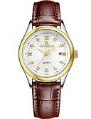 baratos Relógios-Mulheres Relógio Elegante Quartzo Couro Legitimo Impermeável Analógico Minimalista - Preto Branco Vermelho