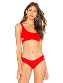 זול חליפות שני חלקים לנשים-אודם S M L פפיון שרוכים לכל האורך גיאומטרי שבטי, בגדי ים חלק אחד (שלם) נועזת מותן גבוה אודם בסיסי בוהו בגדי ריקוד נשים