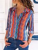 baratos Camisas Femininas-Mulheres Camisa Social - Para Noite Básico / Elegante Listrado Algodão Colarinho de Camisa Solto Azul