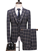 זול טוקסידו-אפור מְשׁוּבָּץ גזרה רגילה פוליאסטר חליפה - סגור Single Breasted One-button