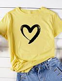 baratos Camisetas Femininas-Mulheres Camiseta Básico Estampado, Animal / Desenho Animado / Letra Algodão Solto Roxo