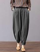ราคาถูก เสื้อเอวลอยสำหรับผู้หญิง-สำหรับผู้หญิง พื้นฐาน / Chinoiserie หลวม ฮาเร็ม / Jogger กางเกง - ลายแถบ สลับ ผ้าลินิน สีเทา XXXL XXXXL XXXXXL